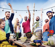 Beach Party Dinner Friendship Happiness Summer Concept Stock Image