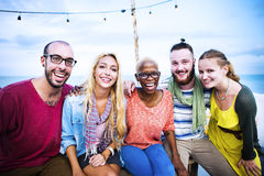 Beach Party Dinner Friendship Happiness Summer Concept Royalty Free Stock Photography