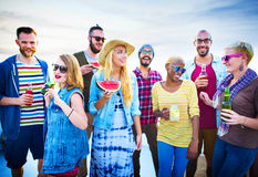Beach Party Dinner Friendship Happiness Summer Concept Royalty Free Stock Photo
