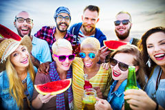 Beach Party Dinner Friendship Happiness Summer Concept Stock Photos