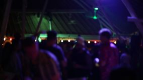 Beach Party at disco club, big night party, many people drinking and dancing. stock footage