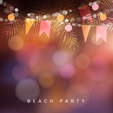 Beach party, Festa Junina or Midsummer greeting card, invitation. Garden party decoration, string of light bulbs, paper. Flags and palm leaves, modern blurred Stock Image
