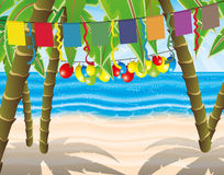 Beach party with flags and balloons. Illustration for beach party with flags and balloons Stock Photos
