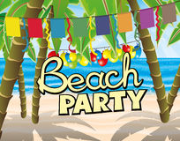 Beach party with flags and balloons. Stock Images