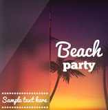 Beach party flyer with blur evening background. Illustration of Beach party flyer with blur evening background Royalty Free Stock Photo