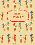Beach party funny invitation - cartoon vintage Stock Images