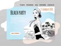 Beach party, girl in swimsuit on the beach. Vector illutration, design template of site header, banner or poster. Royalty Free Stock Image