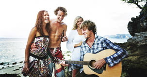 Beach Party Guitar Cheerful Togetherness Sky Concept royalty free stock photo