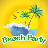 Beach Party Indicates Summer Time And Beaches. Beach Party Showing Seaside Seafront And Coasts royalty free illustration
