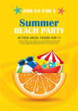 Beach party invitation poster with vacation element . Vector sum Royalty Free Stock Photos