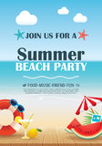 Beach party invitation poster with vacation element wooden and b Royalty Free Stock Images