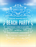 Beach Party Invitation. With white ornaments and ribbons on a blurry ocean background Stock Images