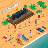 Beach Party Isometric Composition. With dj and music equipment, dancing people, loungers, umbrella, palm trees vector illustration Royalty Free Stock Photo