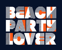Beach Party Lover T-shirt Typography, Vector Royalty Free Stock Photography