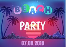 Beach Party Neon Promo Banner in 80s Style. Beach party neon banner in 80s style. Tall tropical palms, rocky mountains and huge sun at sunset surrounded with Stock Illustration