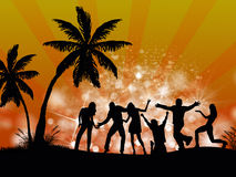 Beach Party people. Party people at beach or island with light and background effects vector illustration