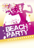 Beach party poster. Beauty dancing with flowers in her hair royalty free stock photos