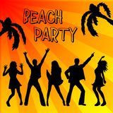 Beach party poster. A bright illustrated sign for a beach party with silhouettes of people dancing under palm trees and sun rays Stock Images