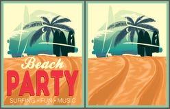 Beach party poster collection Stock Photos