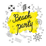 Beach party poster design. Set of doodle summer icons. Isolated on white. Yellow watercolor splash with text. Vector illustration Royalty Free Stock Photo