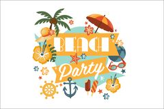 Beach party poster with palm, umbrella, anchor, steering wheel, ball, straw hat, ice-cream, sunglasses, flowers, sea Stock Photography