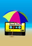 Beach Party Poster. Retro Poster - 80s Beach Party Flyer With Audio Cassette Tape Stock Images