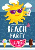 Summer Beach Party Poster Stock Photo