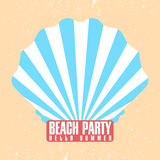 Beach party poster template. Shell, conch with sunburst ray. Retro design. Vintage invitation, poster, placard Royalty Free Stock Photography