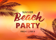 Beach party poster template with typographic elements Royalty Free Stock Photography