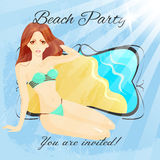 Beach party poster template Royalty Free Stock Photo