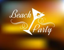 Beach Party Poster. With a tilted cocktail glass with a cherry and text with swirls - Beach Party - on a background with a festive blurred golden glow Stock Photos