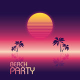 Beach party poster vector template in retro 80s neon glowing style with palm trees and halftone sunset. Eps10 vector illustration Royalty Free Stock Photos