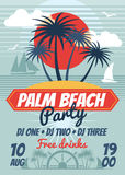Beach party retro summer vector poster or flyer vector illustration