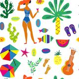 Beach party seamless pattern with tropical plants, sea objects. Vector illustration royalty free illustration