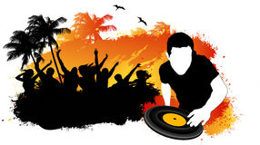 Beach party. Summer beach party with DJ mixing Stock Image