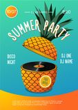 Beach party. Summer music festival. Poster with pineapple and vinyl disc. Summer music festival. Beach party. Poster with pineapple and vinyl disc Royalty Free Stock Photos