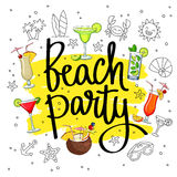 Beach party surrounded from different cocktails and summer icons Royalty Free Stock Images