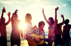 Beach Party Teenagers Drinking Friends Concept Royalty Free Stock Photography