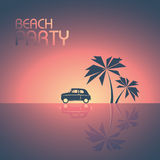 Beach party template background for promotional posters and flyers. Retro 80s style leaflet with palm trees and a small car in sunset. Eps10 vector Royalty Free Stock Photos