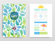 Beach party. Vector illustration. Watercolor flyer Beach party. Vector illustration Royalty Free Stock Image