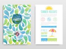 Beach party. Vector illustration. Watercolor flyer Beach party. Vector illustration stock illustration