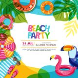 Beach party vector summer poster design template. Swimming pool with float rings doodle illustration. Multicolor inflatable kids toys. Trendy design concept vector illustration