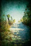 Beach path. Sandy path to beach with vintage, textured processing Stock Photography