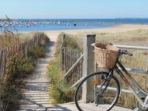 On beach path , Bike on the beach promenade stock image