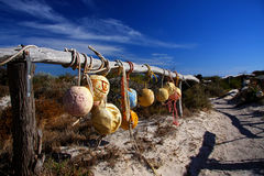 Beach Pathway. Fishing Nets hang on a fence on the pathway to the Beach in Dongarra Western Australia Royalty Free Stock Photo