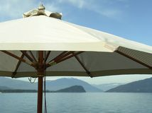 Beach Patio Umbrella Lake Stock Images