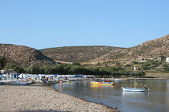 Beach in patmos island stock photography