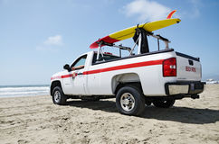 Beach Patrol truck with surf board Royalty Free Stock Photography