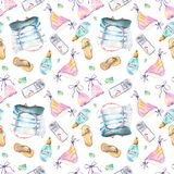 Beach pattern watercolor stock illustration