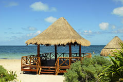 Beach Pavilion. Pavilion on the beach with ocean on clear day Royalty Free Stock Image